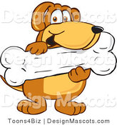 Clipart of a Brown Dog Mascot Cartoon Character Holding a Bone - Royalty Free by Toons4Biz