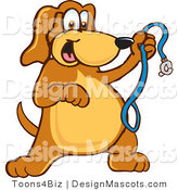 Clipart of a Brown Dog Mascot Cartoon Character Holding a Leash - Royalty Free by Toons4Biz