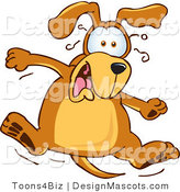 Clipart of a Brown Dog Mascot Cartoon Character Jumping - Royalty Free by Toons4Biz