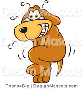 Clipart of a Brown Dog Mascot Cartoon Character Needs to Go Pee - Royalty Free by Toons4Biz
