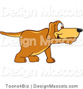 Clipart of a Brown Dog Mascot Cartoon Character Pointing While Sniffing - Royalty Free by Toons4Biz