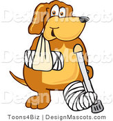 Clipart of a Brown Dog Mascot Cartoon Character with a Broken Arm and Leg - Royalty Free by Toons4Biz