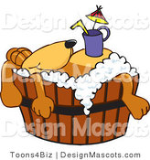 Clipart of a Brown Dog Mascot Cartoon Character with a Drink on His Belly - Royalty Free by Toons4Biz