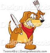 Clipart of a Brown Dog Mascot Cartoon Character with a Knife and Fork - Royalty Free by Toons4Biz