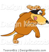 Clipart of a Brown Dog Mascot Cartoon Character with a Mask over His Eyes - Royalty Free by Toons4Biz