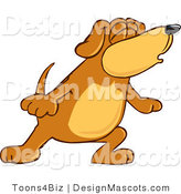 Clipart of a Brown Dog Mascot Cartoon Character with Closed Eyes - Royalty Free by Toons4Biz