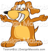 Clipart of a Brown Dog Mascot Cartoon Character with Open Arms - Royalty Free by Toons4Biz
