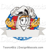 Clipart of a Chef Hat Mascot with American Banner - Royalty Free by Toons4Biz
