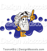 Clipart of a Chef Mascot over Blue Paint Splatters - Royalty Free by Toons4Biz