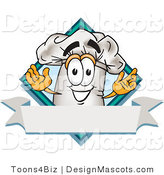 Clipart of a Chefs Hat Mascot Guy over a Blank Banner - Royalty Free by Toons4Biz