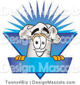 Clipart of a Chefs Hat Mascot Guy over a Blank Blue Label - Royalty Free by Toons4Biz