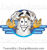 Clipart of a Chefs Hat Mascot Man on a Blue Logo - Royalty Free by Toons4Biz