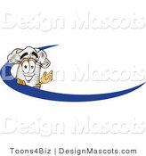 Clipart of a Chefs Hat Mascot on an Employee Name Tag with a Blue Dash - Royalty Free by Toons4Biz