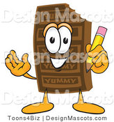 Clipart of a Chocolate Candy Bar Mascot with a Pencil - Royalty Free by Toons4Biz