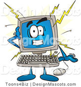 Clipart of a Desktop Computer Crashing - Royalty Free by Toons4Biz