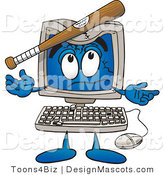 Clipart of a Desktop Computer Mascot - Royalty Free by Toons4Biz