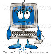 Clipart of a Desktop with a Hole in His Screen - Royalty Free by Toons4Biz