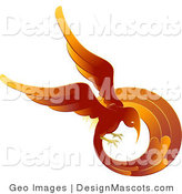 Clipart of a Fiery Phoenix Circle - Royalty Free by AtStockIllustration