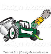 Clipart of a Green Lawn Mower Holding up a Saw - Royalty Free by Toons4Biz
