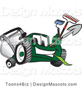 Clipart of a Green Lawn Mower Mascot Carrying Garden Tools - Royalty Free by Toons4Biz