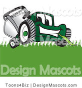 Clipart of a Green Lawn Mower Mascot Eating Grass - Royalty Free by Toons4Biz