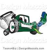 Clipart of a Green Lawn Mower Mascot Holding a Blue Telephone - Royalty Free by Toons4Biz
