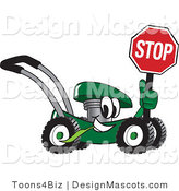 Clipart of a Green Lawn Mower Mascot Holding a Stop Sign - Royalty Free by Toons4Biz