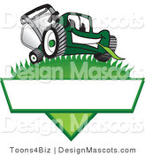 Clipart of a Green Lawn Mower Mascot on a Logo - Royalty Free by Toons4Biz