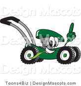 Clipart of a Green Lawn Mower Mascot Passing by and Pointing Upwards - Royalty Free by Toons4Biz
