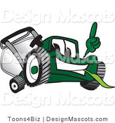 Clipart of a Green Lawn Mower Mascot - Royalty Free by Toons4Biz