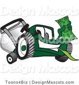 Clipart of a Green Lawn Mower Mascot Waving a Dollar Bill - Royalty Free by Toons4Biz