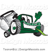 Clipart of a Green Lawn Mower Mascot Waving - Royalty Free by Toons4Biz