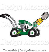 Clipart of a Green Lawn Mower Mascot with a Saw - Royalty Free by Toons4Biz