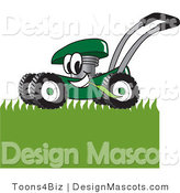 Clipart of a Green Lawn Mower Mowing Grass - Royalty Free by Toons4Biz