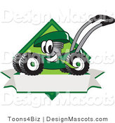 Clipart of a Green Mower and Banner - Royalty Free by Toons4Biz