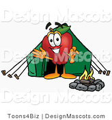 Clipart of a Red Apple Character Mascot Camping - Royalty Free by Toons4Biz