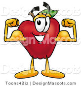 Clipart of a Red Apple Character Mascot Flexing His Arm - Royalty Free by Toons4Biz