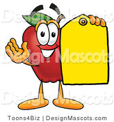 Clipart of a Red Apple Character Mascot Holding a Blank Yellow Price Tag - Royalty Free by Toons4Biz