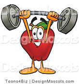 Clipart of a Red Apple Character Mascot Holding a Heavy Barbell - Royalty Free by Toons4Biz