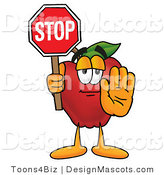 Clipart of a Red Apple Character Mascot Holding a Red Stop Sign - Royalty Free by Toons4Biz