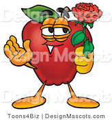 Clipart of a Red Apple Character Mascot Holding a Single Red Rose - Royalty Free by Toons4Biz