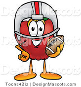 Clipart of a Red Apple Character Mascot in a Helmet - Royalty Free by Toons4Biz