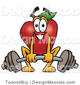 Clipart of a Red Apple Character Mascot Lifting a Heavy Barbell - Royalty Free by Toons4Biz