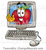 Clipart of a Red Apple Character Mascot on a Desktop - Royalty Free by Toons4Biz
