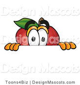 Clipart of a Red Apple Character Mascot Peeking - Royalty Free by Toons4Biz
