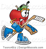 Clipart of a Red Apple Character Mascot Playing Ice Hockey - Royalty Free by Toons4Biz