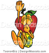 Clipart of a Red Apple Character Mascot Plugging His Nose - Royalty Free by Toons4Biz
