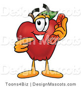 Clipart of a Red Apple Character Mascot Pointing at a Phone - Royalty Free by Toons4Biz