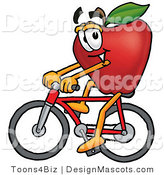 Clipart of a Red Apple Character Mascot Riding a Bicycle - Royalty Free by Toons4Biz