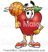 Clipart of a Red Apple Character Mascot Spinning a Basketball - Royalty Free by Toons4Biz